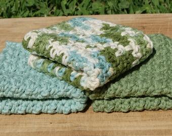 Cotton Dishcloths- Set of Three, Seaside