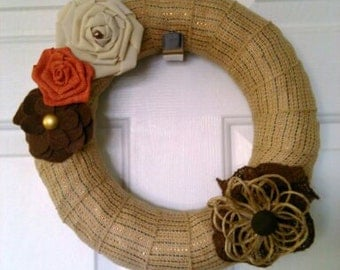 12 inch Burlap wreath with handmade flower accents