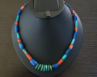 Elegant TURQUOISE CORAL LAPIS Lazuli Silver Necklace