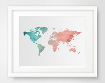 World Map Wall art, Mint & coral wall art print, World map print, Printable wall decor, Home decor, Mint coral wall decor, Modern wall art