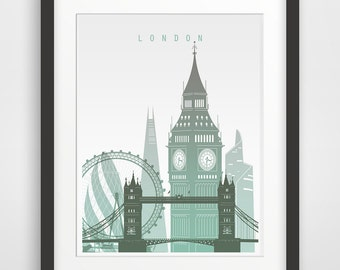 London Art Print, London Printable Poster, Wall art, Printable wall art, London citysape, Travel Poster design, Instant download