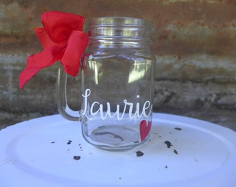 Personalized Mason Jar Mug, Bachelorette Party, Bridal Shower, Bridesmaid Gift
