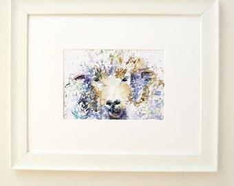 Sheep Art Print 'Winter Woolley' by Luna Harrison