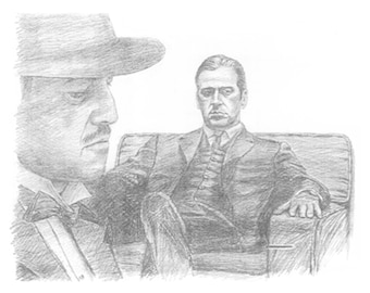 "Limited Edition signed and numbered print of ""The Godfather"" from the movie, Michael and Brando"