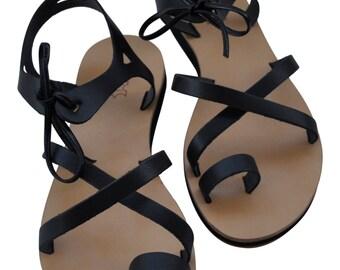 Ikaria leather handmade Greek style sandals black