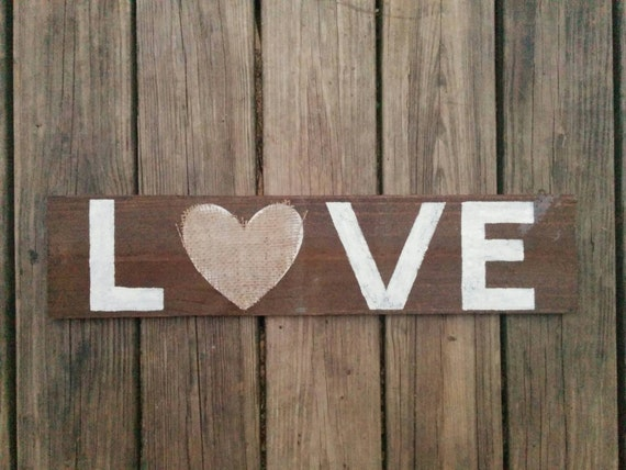 Love with Burlap Heart Sign, Reclaimed Rustic Wooden Home Decor, Love Sign, Rustic Love Sign, Wall Sign, Wedding Sign, Love Decor