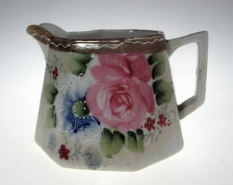 Vintage 1891-1920 Te Oh Nippon China Hand Painted Floral Creamer Pitcher Japan