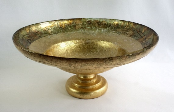 Large italian gold glass centerpiece compote bowl underpainted