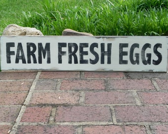 Farm Fresh Eggs, Hand-painted, distressed, large wooden sign, kitchen, pantry, farmhouse decor, rustic home decor, dining room, organic,
