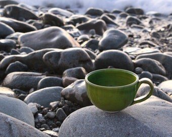 Hand made green Coffee Cup