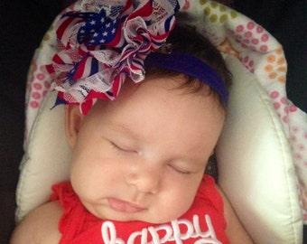 American Flag flower clip and matching headband! Flower headband