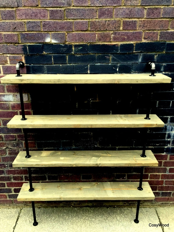 industrial wall unit shelf unit handmade of by cosywooduk. Black Bedroom Furniture Sets. Home Design Ideas