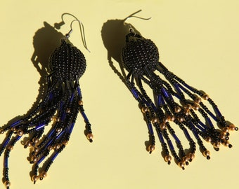 Black African style earrings.