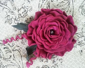Leather flower brooch, handmade, leather jewelry