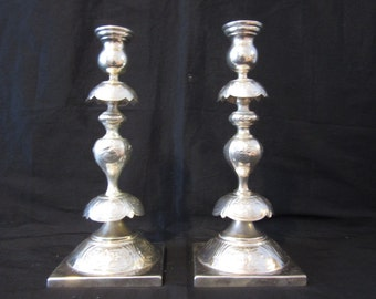 Antique Silver Plated Polish Candlesticks
