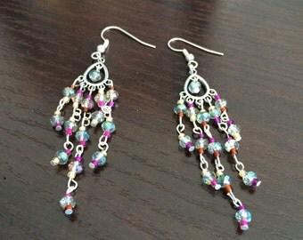 Multicolor chandelier dangle earrings