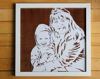 Custom papercut portrait (framed)