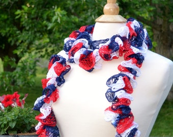 Handmade, Crocheted Sashay Scarf - 97% acrylic yarn; 67 inches long; 4th of July; Memorial Day; patriotic scarf; red, white, and blue; gifts