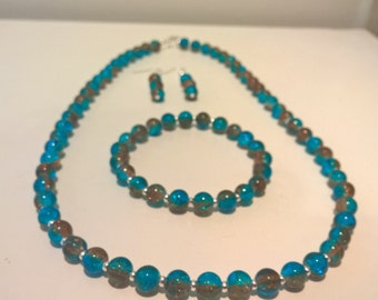 Aqua and Coffee Necklace, Earrings and Bracelet Set, Bead Necklace, Bead Bracelet, Stretch Bracelet, Silver Jewellery, Drop Earrings, Glass