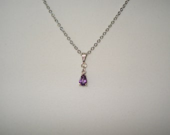 """Amethyst Pear Shaped Pendant Necklace 18"""""""