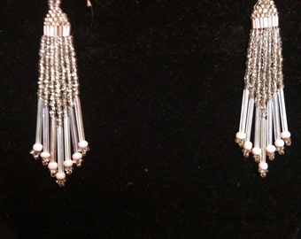 Pink and clear chandelier earrings