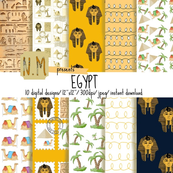 Travel digital paper, egypt digital pattern, summer vacation scrapbooking paper, pyramids, camel, palm trees, stamps, pharaoh tutankhamun