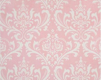 1 Yard Pink and White Damask Fabric - Premier Prints Bella and White Twill Ozbourne Fabric ONE YARD ozborne osbourne osborne