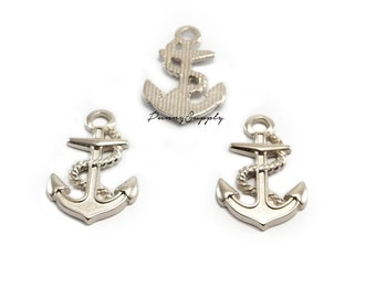 10 pieces - Anchor Charms Pendants Nautical Findings Silver Tone CS-074-SRR.2