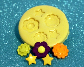 Silicone miold -smiles, Smiley Face, sun, flower, star-- gumpaste, fondant, cake decorating, chocolate, candy, polymer clay