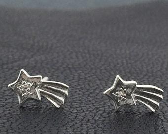 925 Sterling silver shooting star stud earrings