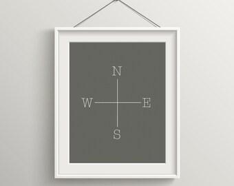 North South East West Print, Modern Art Print, Digital Print, Wall Art, Inspirational Quote