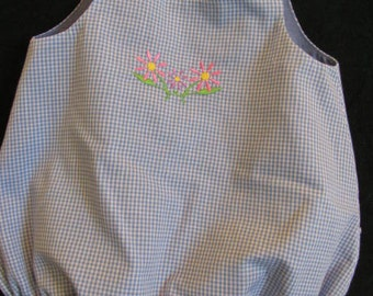 Baby Girl Bubble/Romper.  Blue Gingham Check.  Size Medium