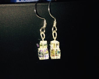 Swarovski Cube AB Dangle Earrings