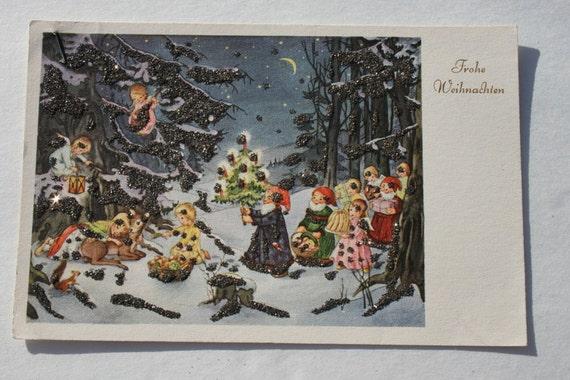 alte deutsche glitter weihnachtskarte s e engel zwerge mit. Black Bedroom Furniture Sets. Home Design Ideas