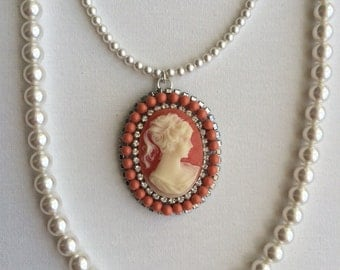 Long Swarovski crystal Pearl Necklace with a Cameo Pendant Cameo Jewelry Cameo Necklace Victorian Cameo Jewelry Necklace Coral Cameo