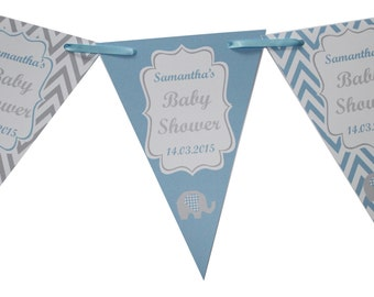 Personalised Blue Baby Shower Bunting  Banner Decoration Chevron Flags