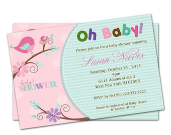 Personalized Birds Flower Baby Shower Invitations - Digital file