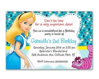 Printable File - Alice in Wonderland party Invitation card