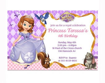 Sofia the first birthday invitations personalized PRINTABLE file