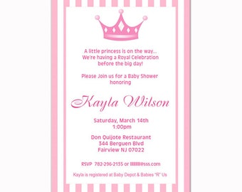 You print - Royal Princess Baby Shower Party Invitations