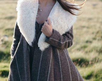 Woven wool swing coat