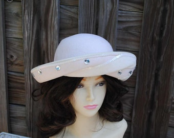 Vintage Deborah Hat Ivory with Rhinestones and Sequins