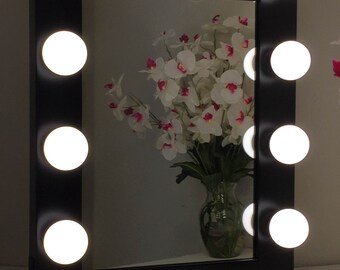 Hollywood Classic Lighted Make Up Vanity Table Top Mirror ***Large*** Black