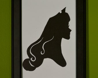 "Princess Aurora from ""Sleeping Beauty"" Hand-Cut Paper Silhouette Portrait"
