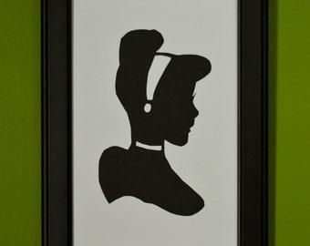 Cinderella Hand-Cut Paper Silhouette Portrait