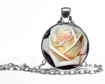 Pink Rose - Flower Nature Handmade Pendant Necklace