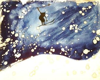 Ski jump in the snowstorm