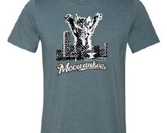 MEOWAUKEE T-Shirt, Heather Slate, Cotton, 414, Milwaukee WI, funny