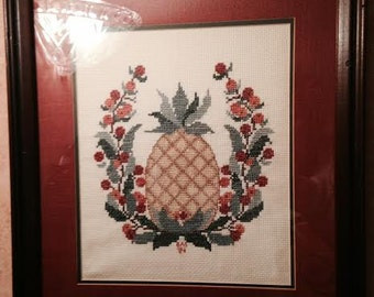 pineapple, pineapple cross stitch framed, cross stitch, friendship cross stitch, friendship, hospitality