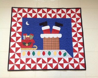 Santa Down the Chimney Wall Hanging